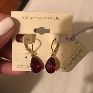 Swarovski crystal red earrings